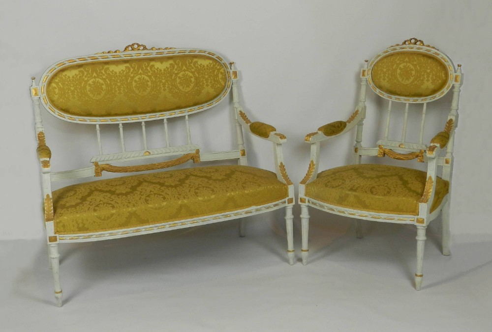 french louis xvi style canap sofasettee with armchair