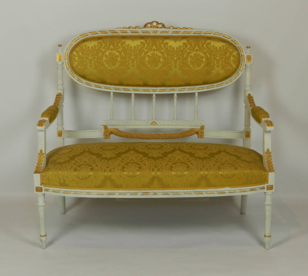 French louis xvi style canap sofa settee with armchair for What does canape mean in french