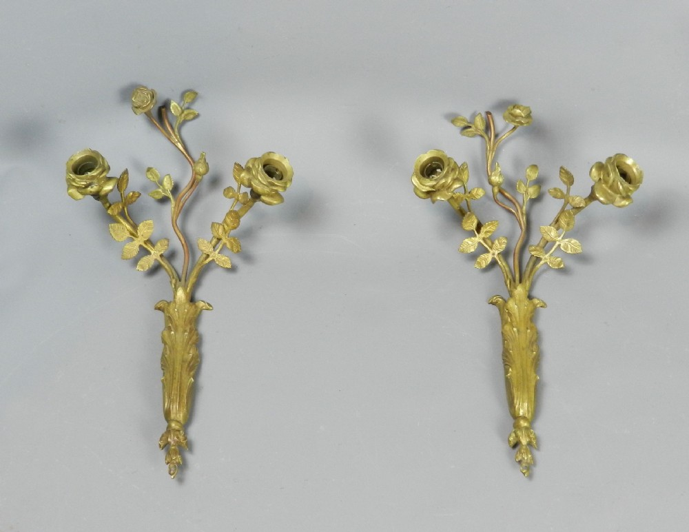 unusual pair french gilt bronze wall sconces