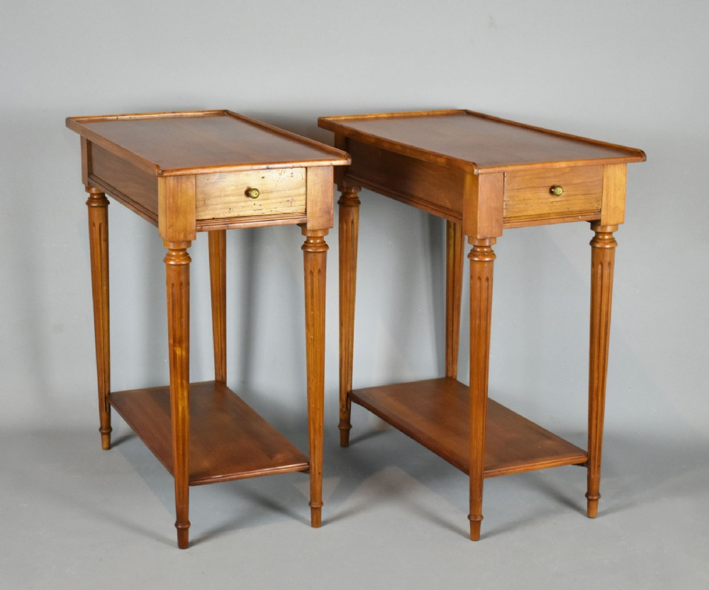 pair of french sofa end tables in cherry louis xvi style