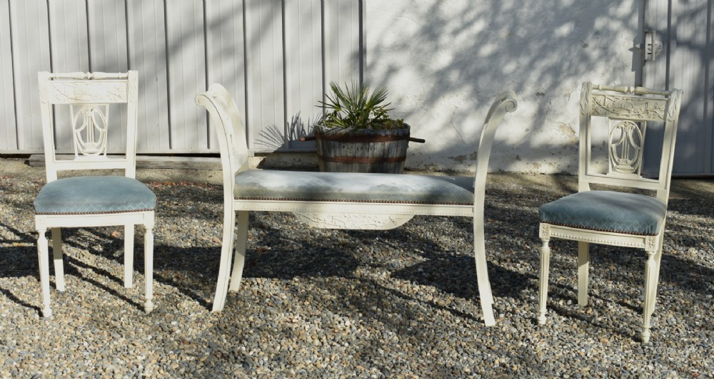 antique french painted bench pair of chairs