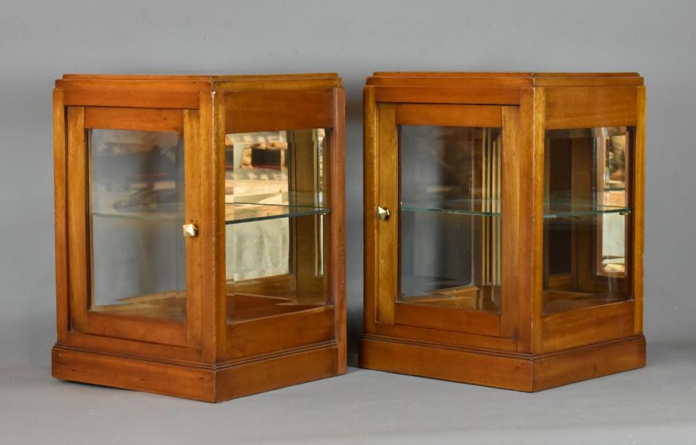 pair of french countertop mahogany display cabinets