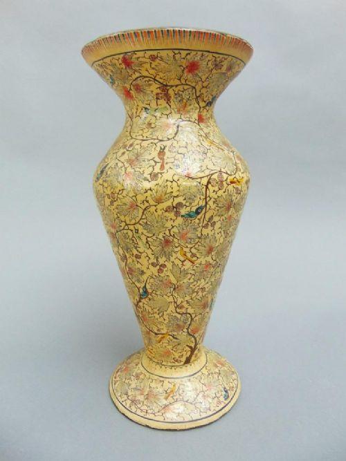Beautiful Indian Kashmir Hand Painted Papier Mache Vase C1900