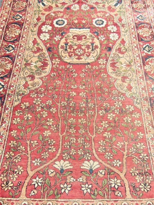 Fine Mauri Turkman Silk Prayer Rug Carpet 471752