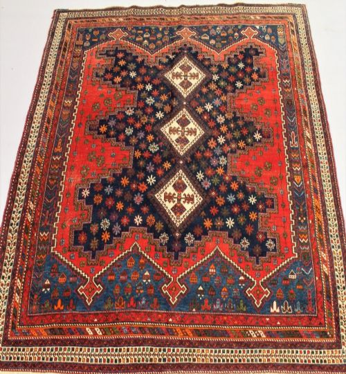 stunning antique afshar carpet circa 1910