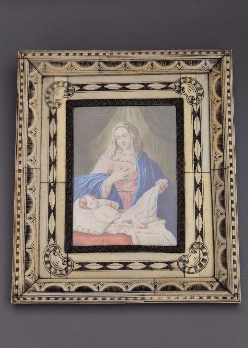 miniature italian painting madonna child del veccio