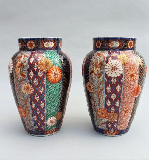 good pair of 19th century japanese imari fukagawa vases