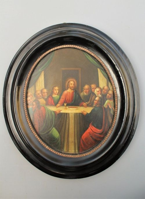 18th century oval oil painting christ at the last supper