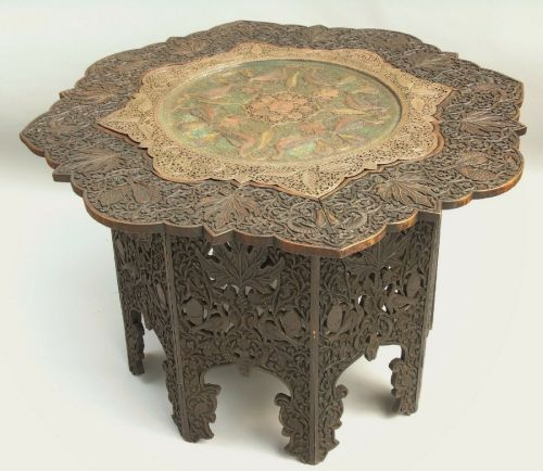 antique indian carved hardwood polychrome copper table