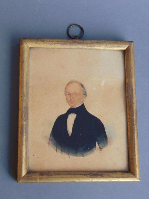 georgian gentleman watercolour portrait miniature