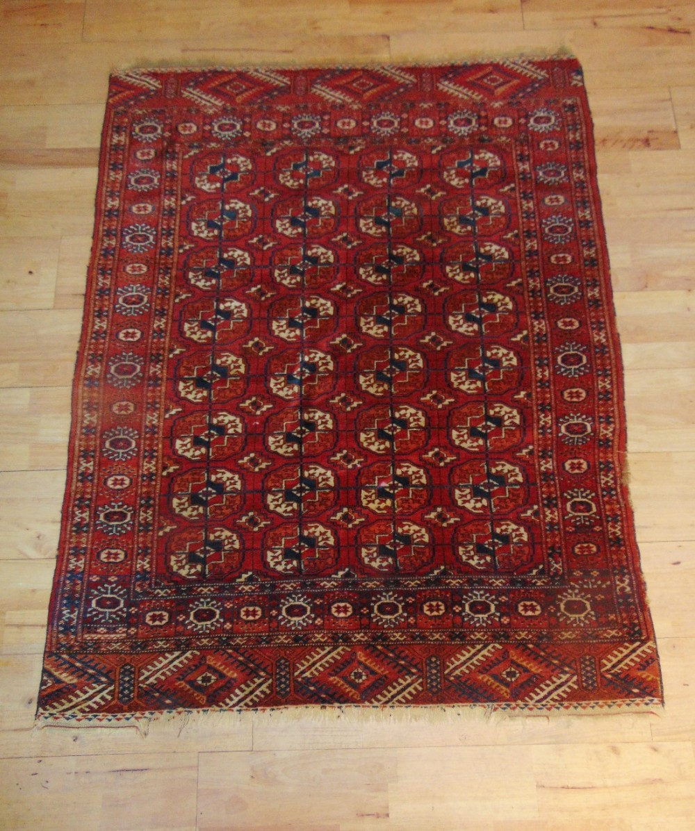 Antique Turkoman Hand Woven Tekke Rug Central Asia