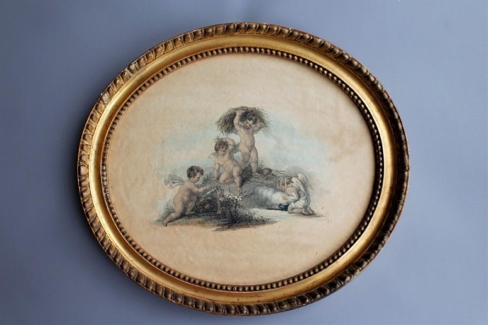 stipple engraving putti 18th century