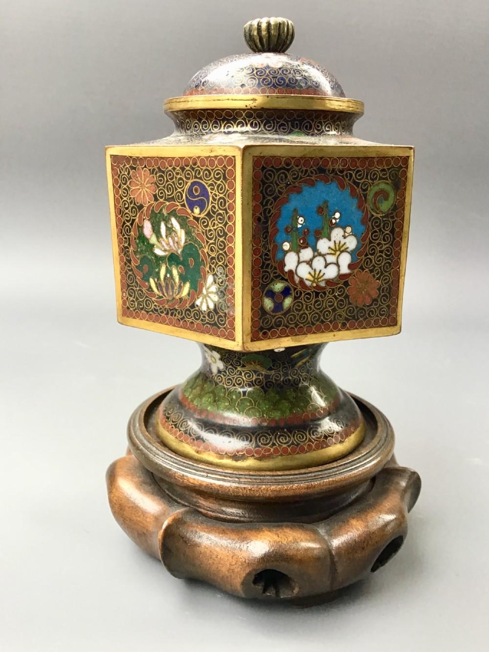 antique japanese cloisonne vase cover meiji period