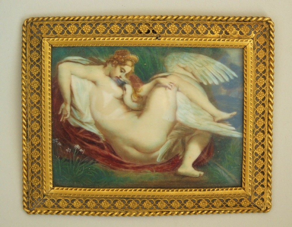 19th century gilt frame miniature painting on ivory leda the swan