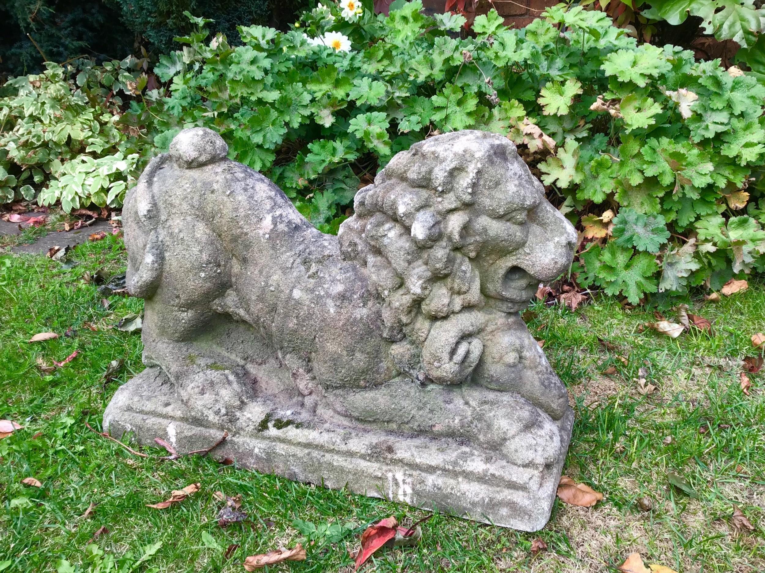 Old Garden Statue: Antique Stone Garden Lion Statue