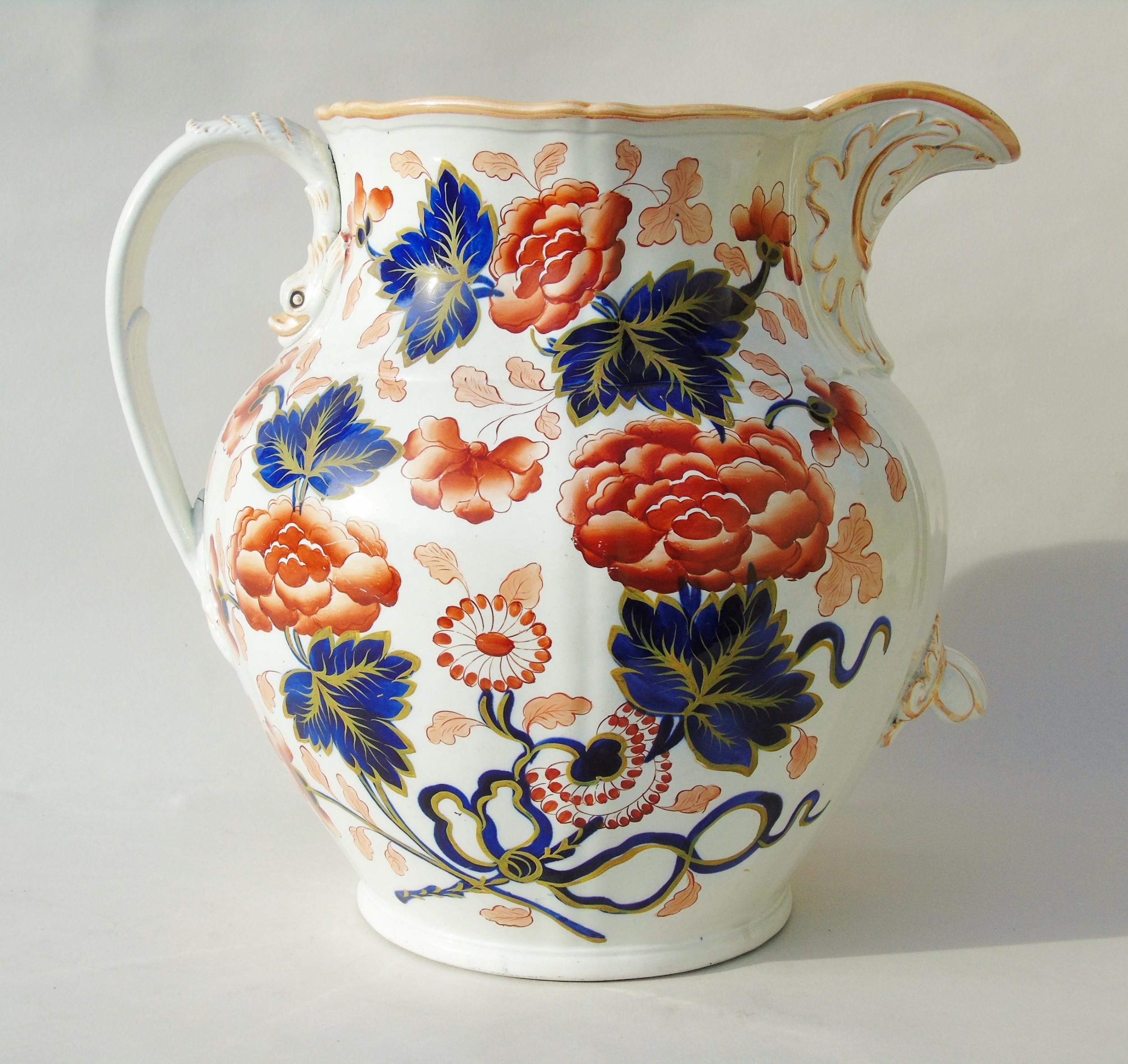antique very large staffordshire stone china jug