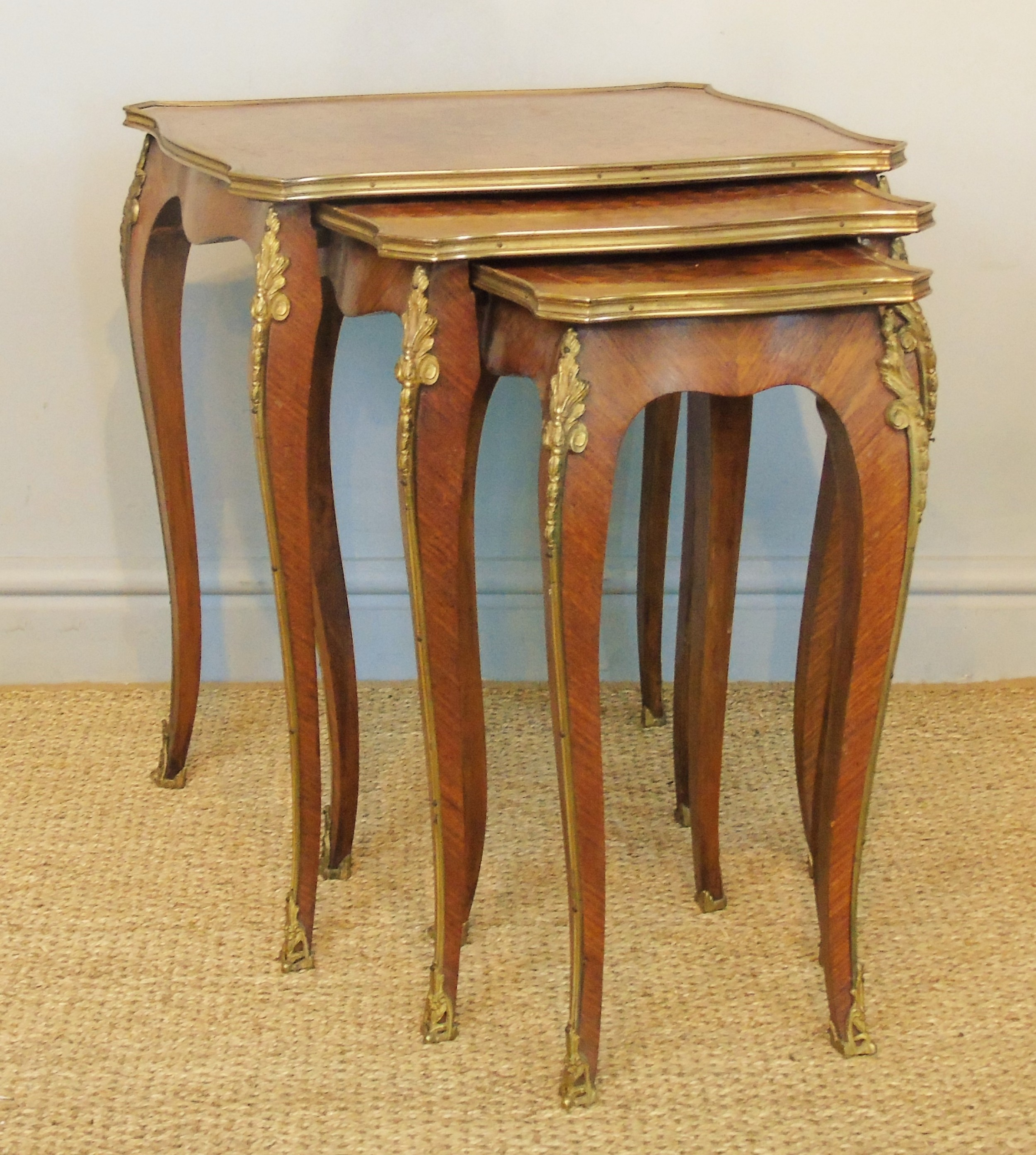 antique french nest of 3 tables ormolu mounts