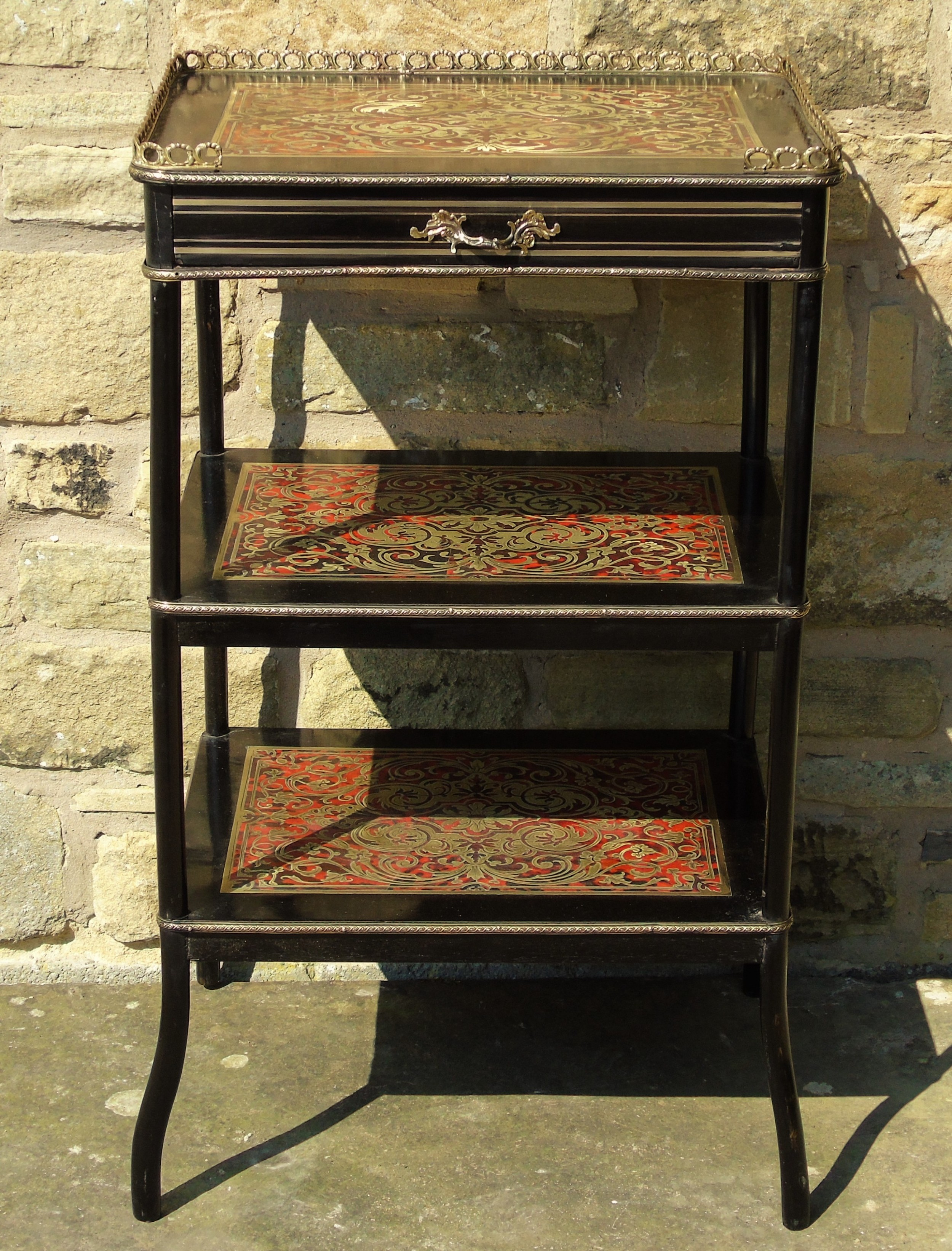 victorian boulle work ebonised side table etagere