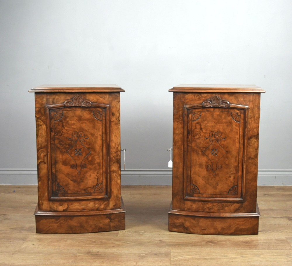 pair of victorian walnut bedside cabinets