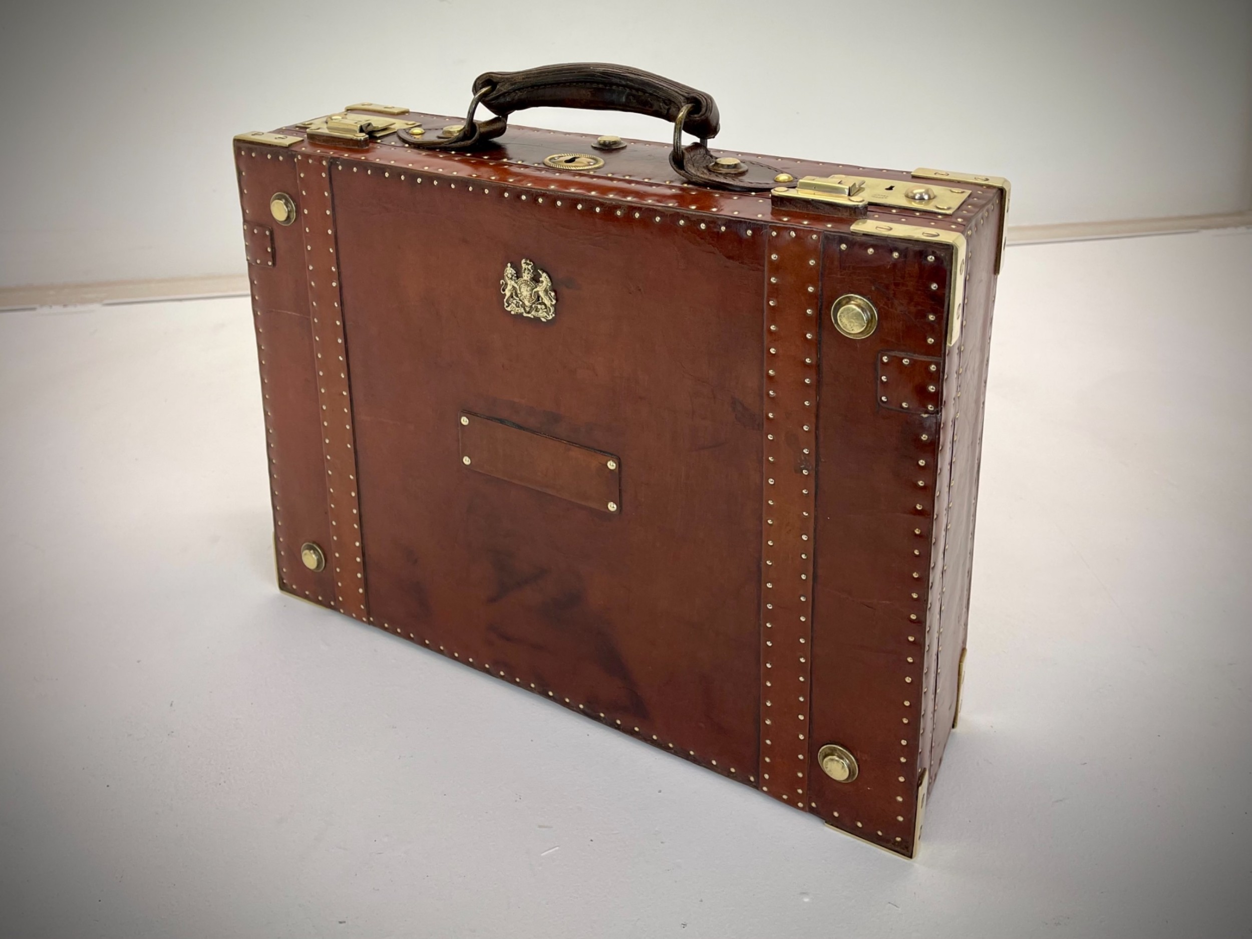 vintage leather dispatch case briefcase antique travel luggage