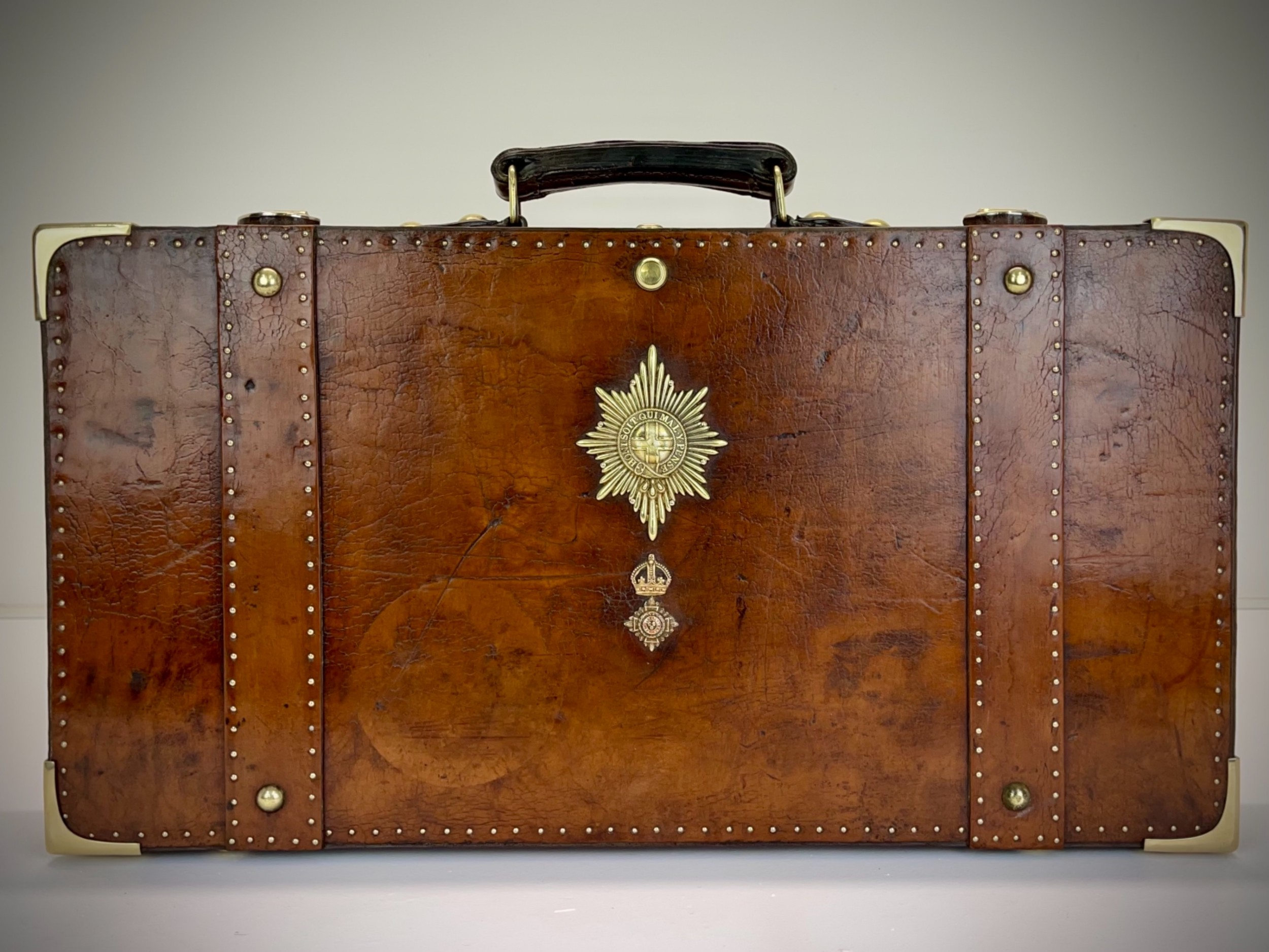 vintage dispatch case briefcase antique leather military travel luggage