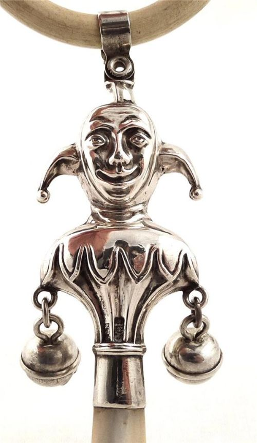 Antique Victorian Sterling Silver Jester Baby Rattle 1899