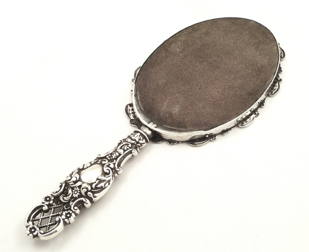 victorian hand mirror. Antique Victorian Sterling Silver Hand Mirror 1897 | 276029 Sellingantiques.co.uk