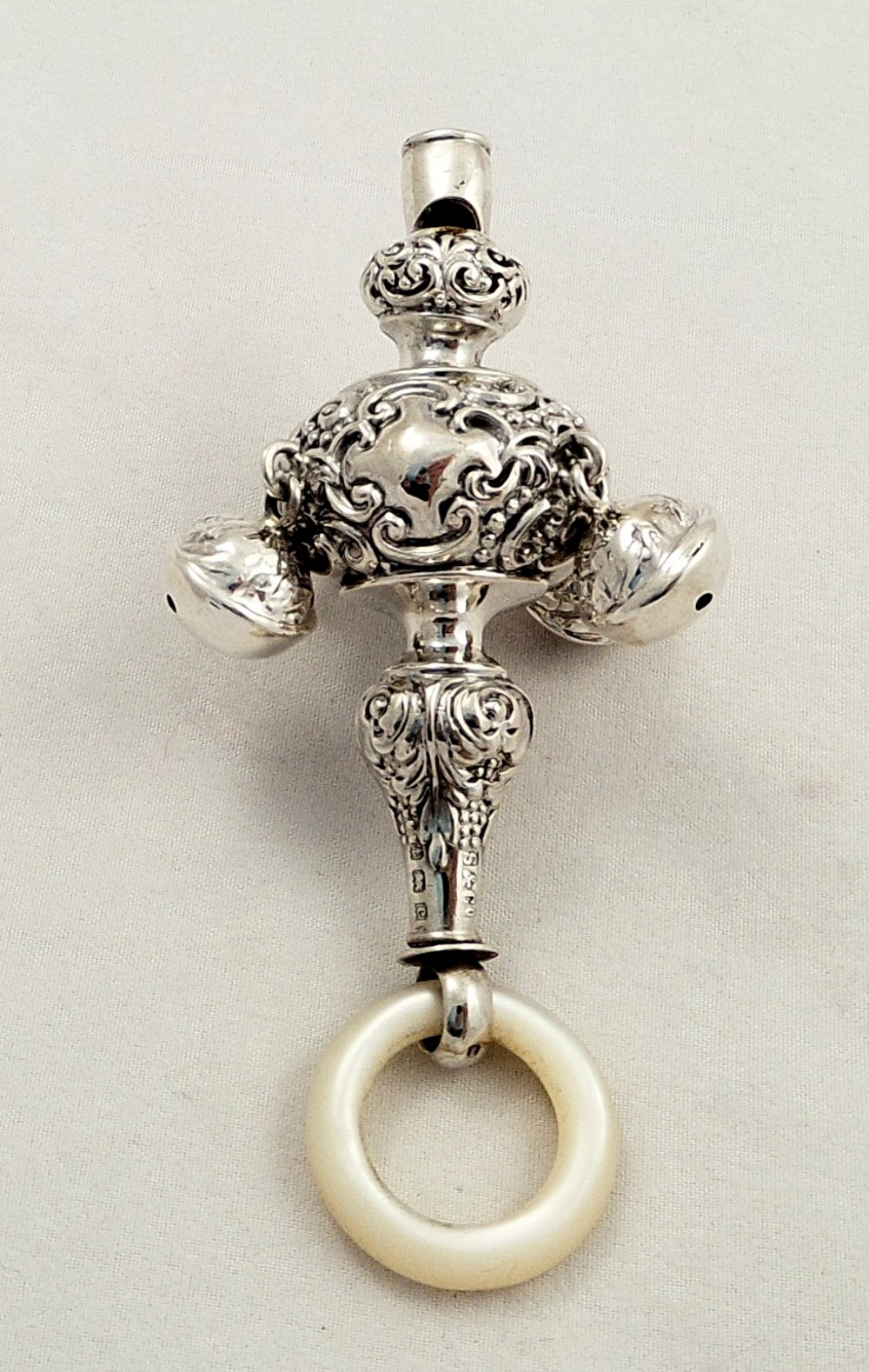 Antique Sterling Silver Baby Rattle With Whistle Amp Bells