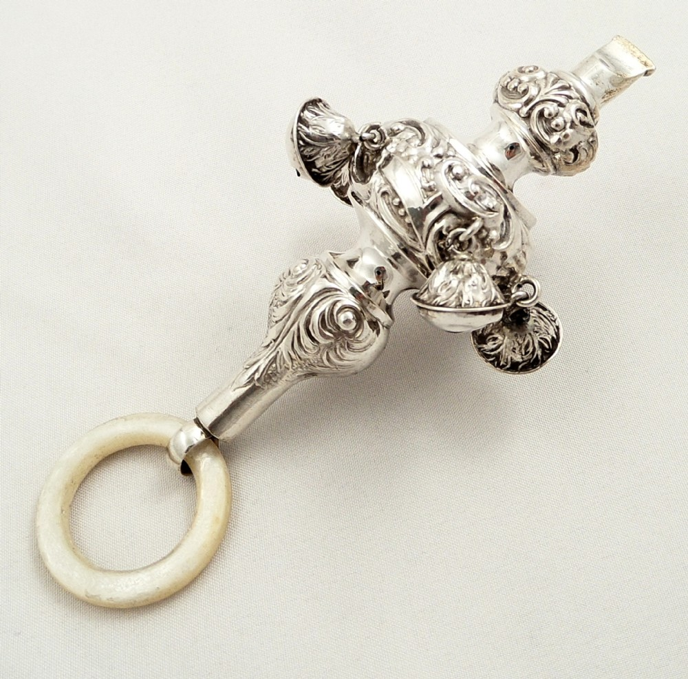 Antique Sterling Silver Baby Rattle With Bells Amp Whistle