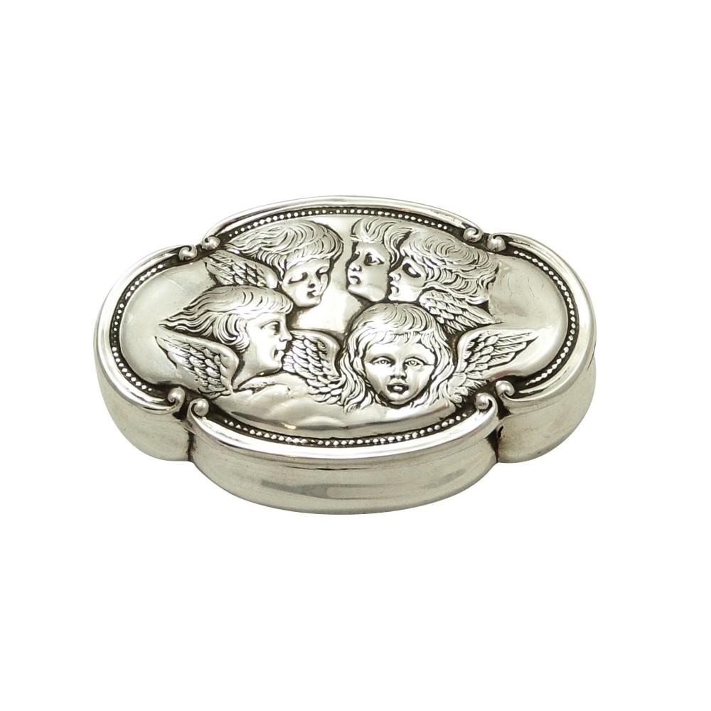 antique victorian sterling silver 'cherub' ring box 1898