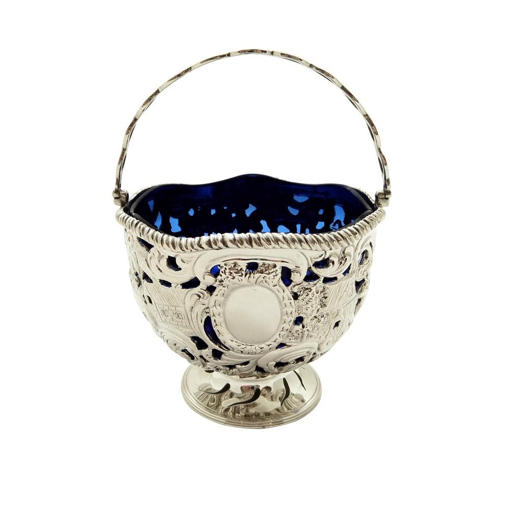 antique sterling silver basket with scenes blue glass liner 1901