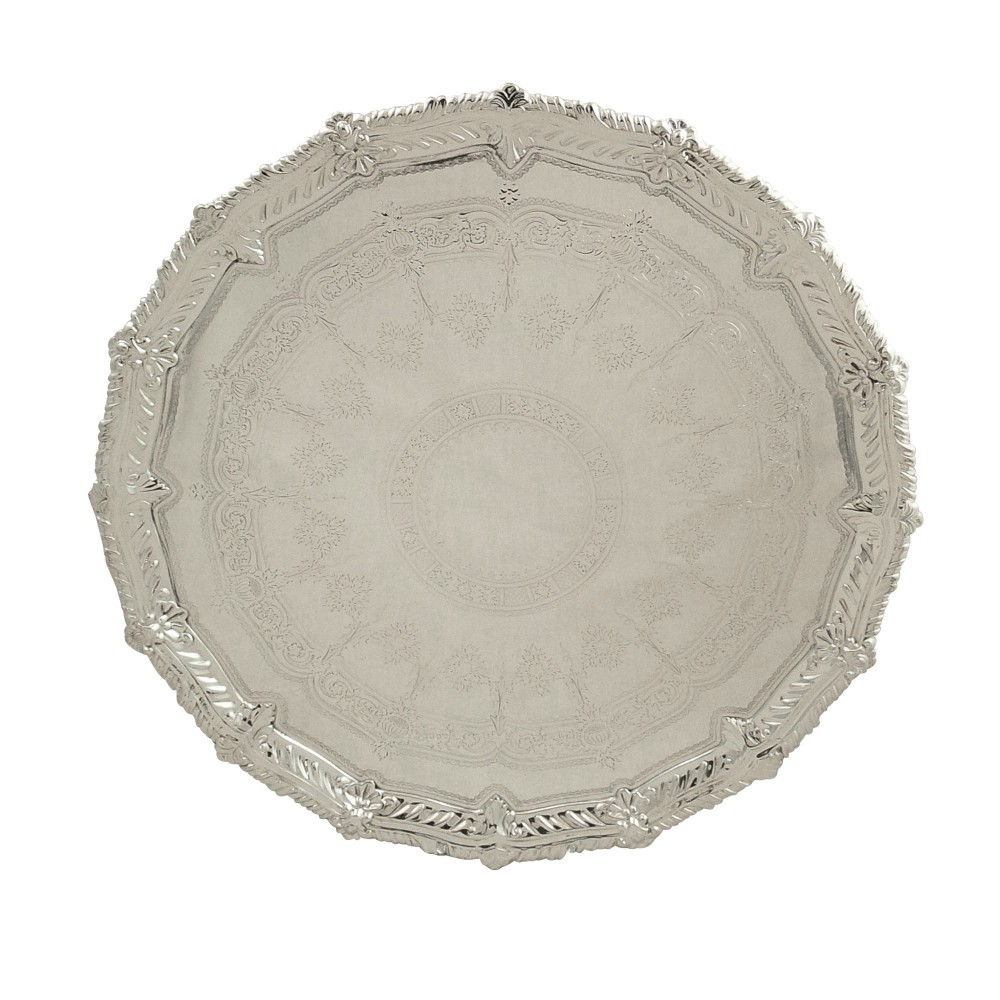 antique victorian silver plated 12 tray salver c1900