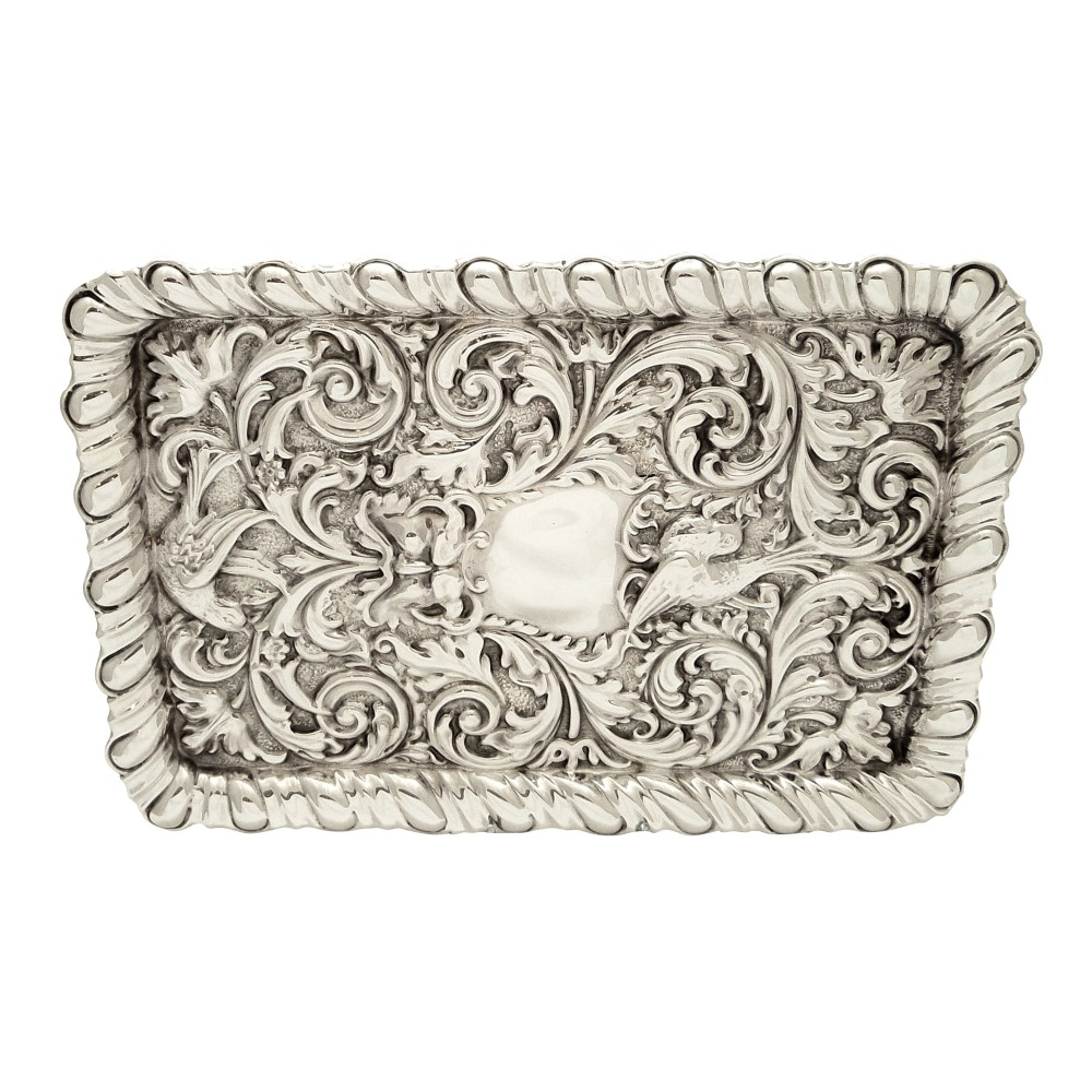 antique edwardian sterling silver 'birds' dressing tray 1906
