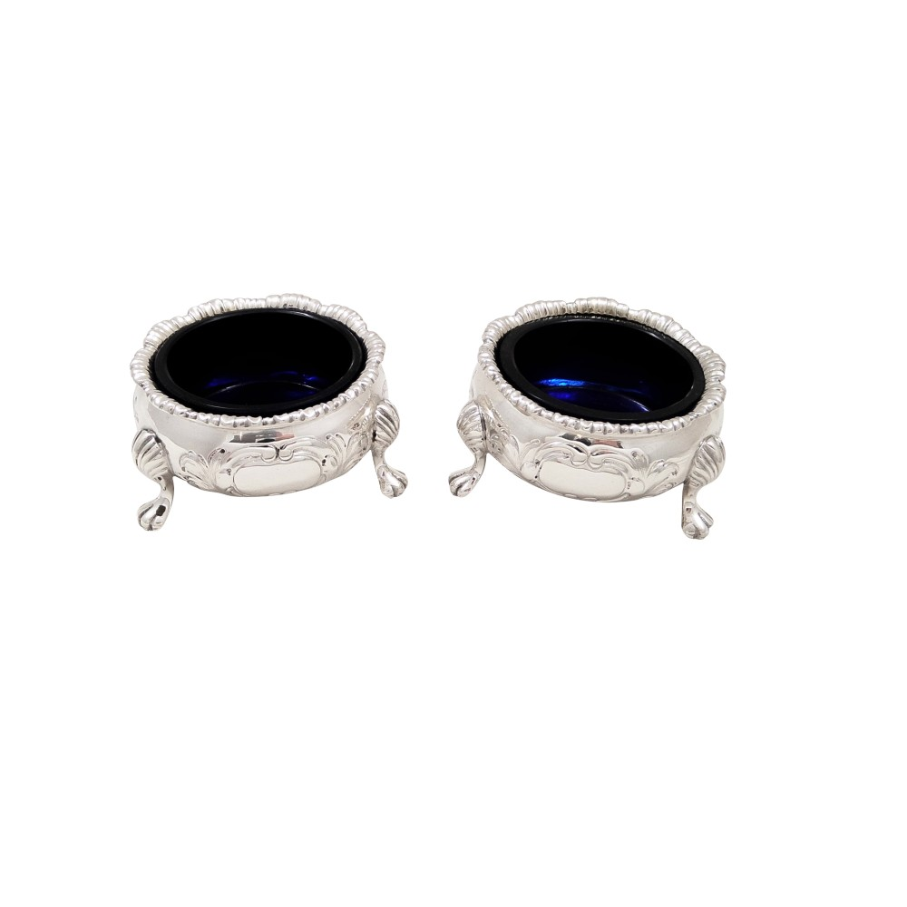 pair of antique victorian sterling silver salts 1872