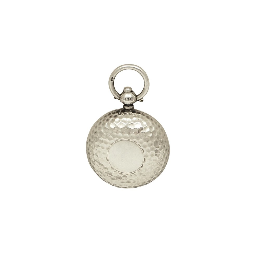 antique sterling silver 'golf ball' sovereign case 1915