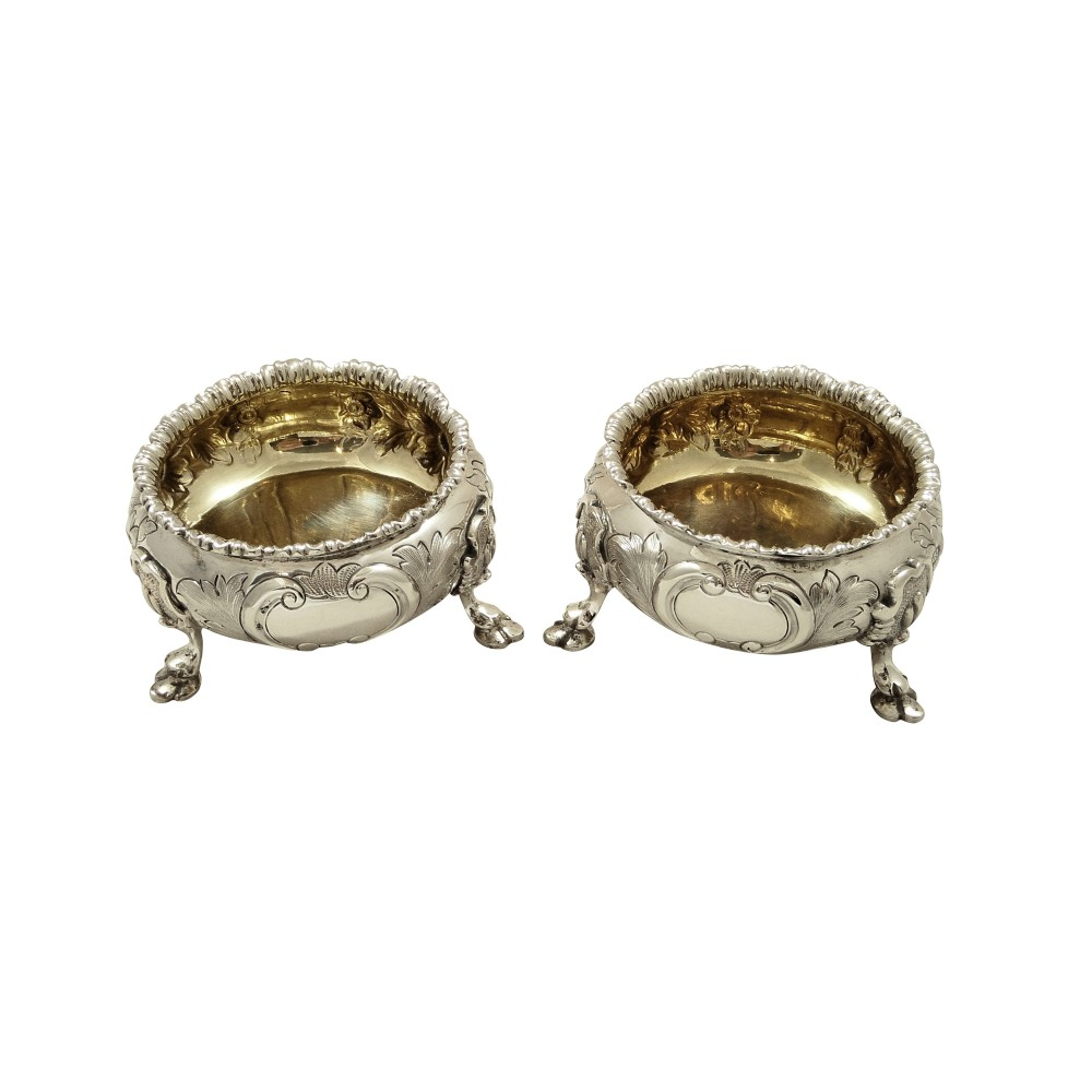 pair of antique victorian sterling silver salts 18691870