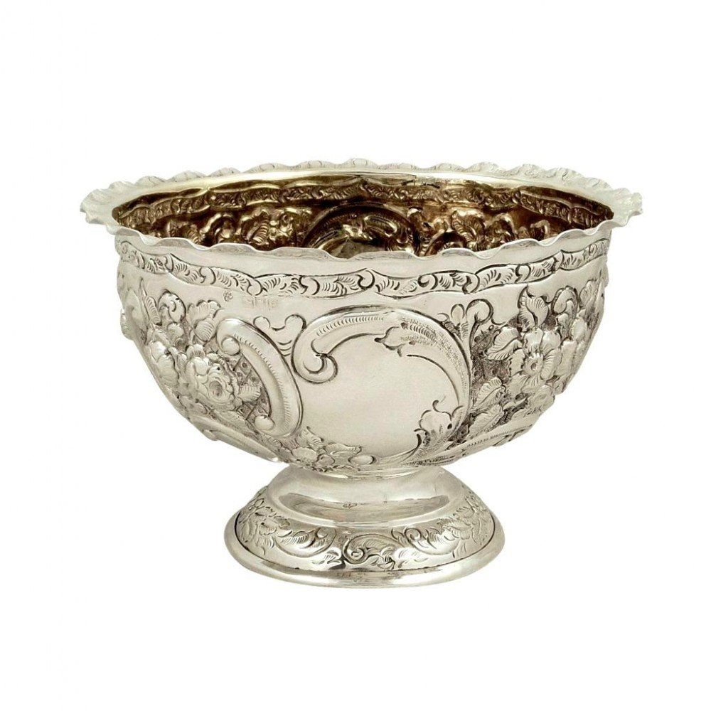 antique victorian sterling silver bowl on pedestal foot 1900