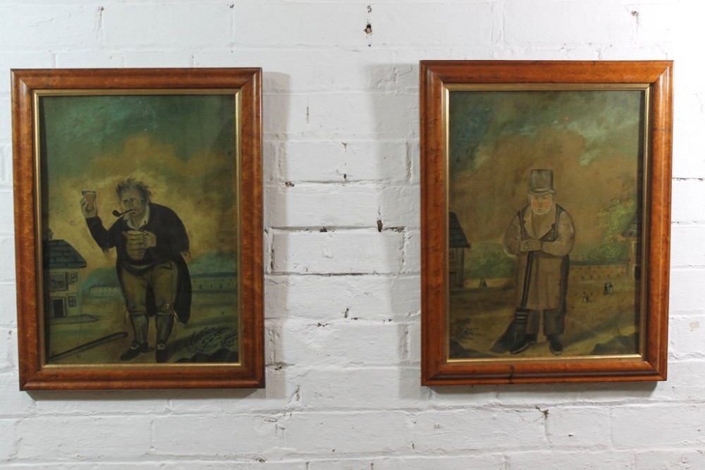 naive pair of folk art portraits on tin from a macclesfield museum