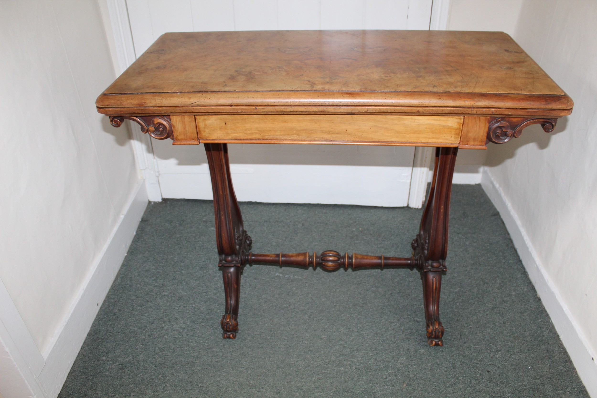 victorian figured walnut card table