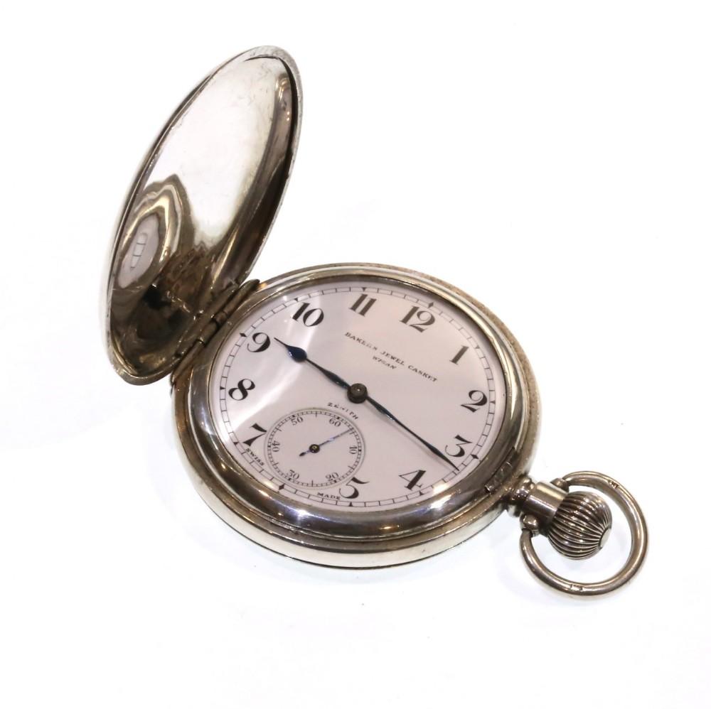 1920 zenith keyless silver hunter pocket watch