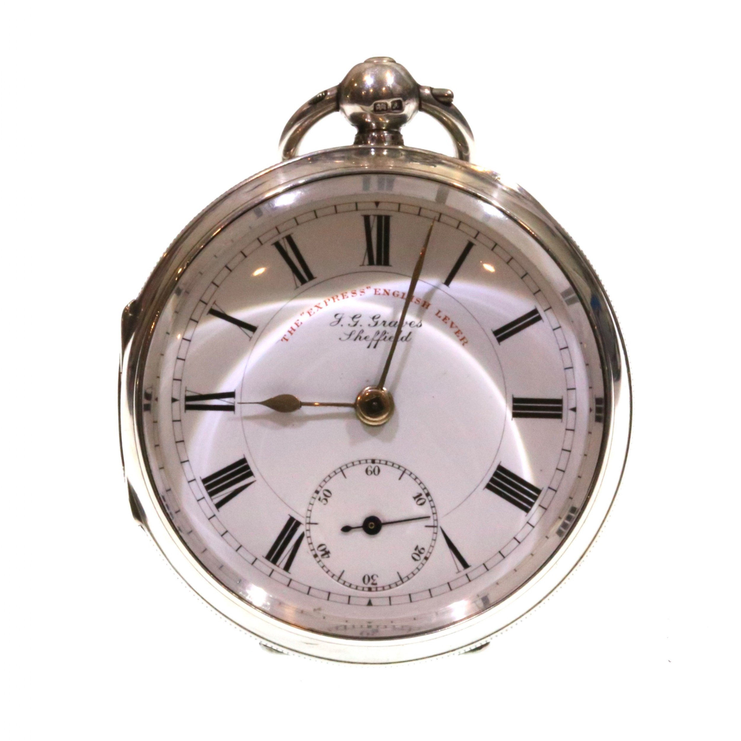 1901 jg graves silver lever pocket watch