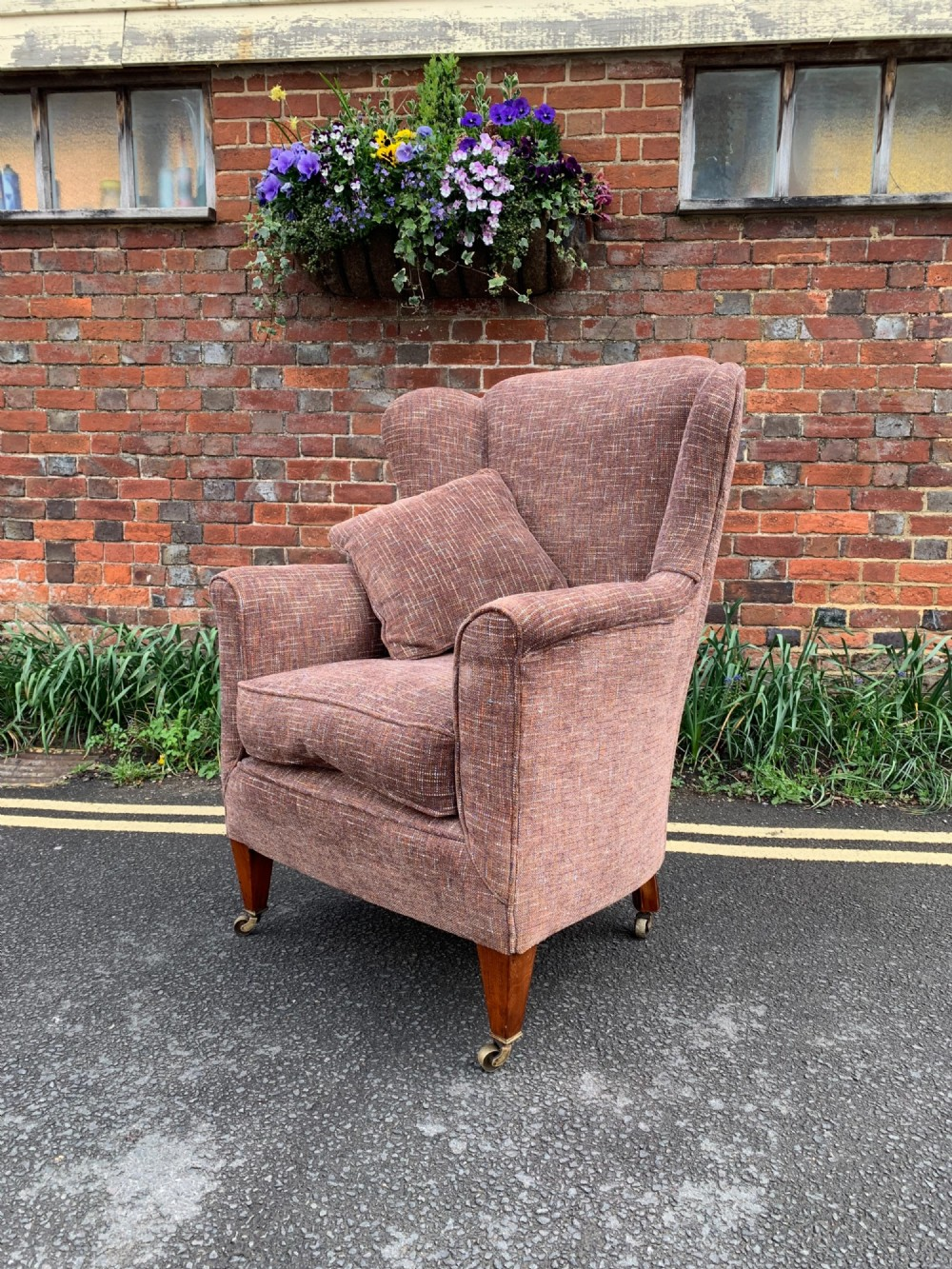 newly upholstered armchair