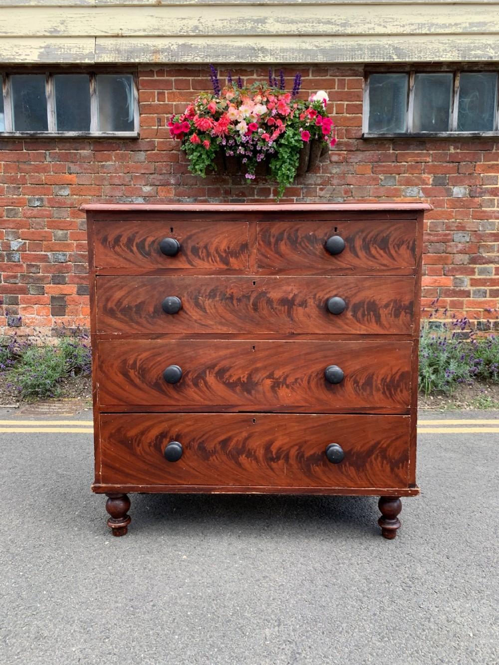 victorian pine chest in original paint