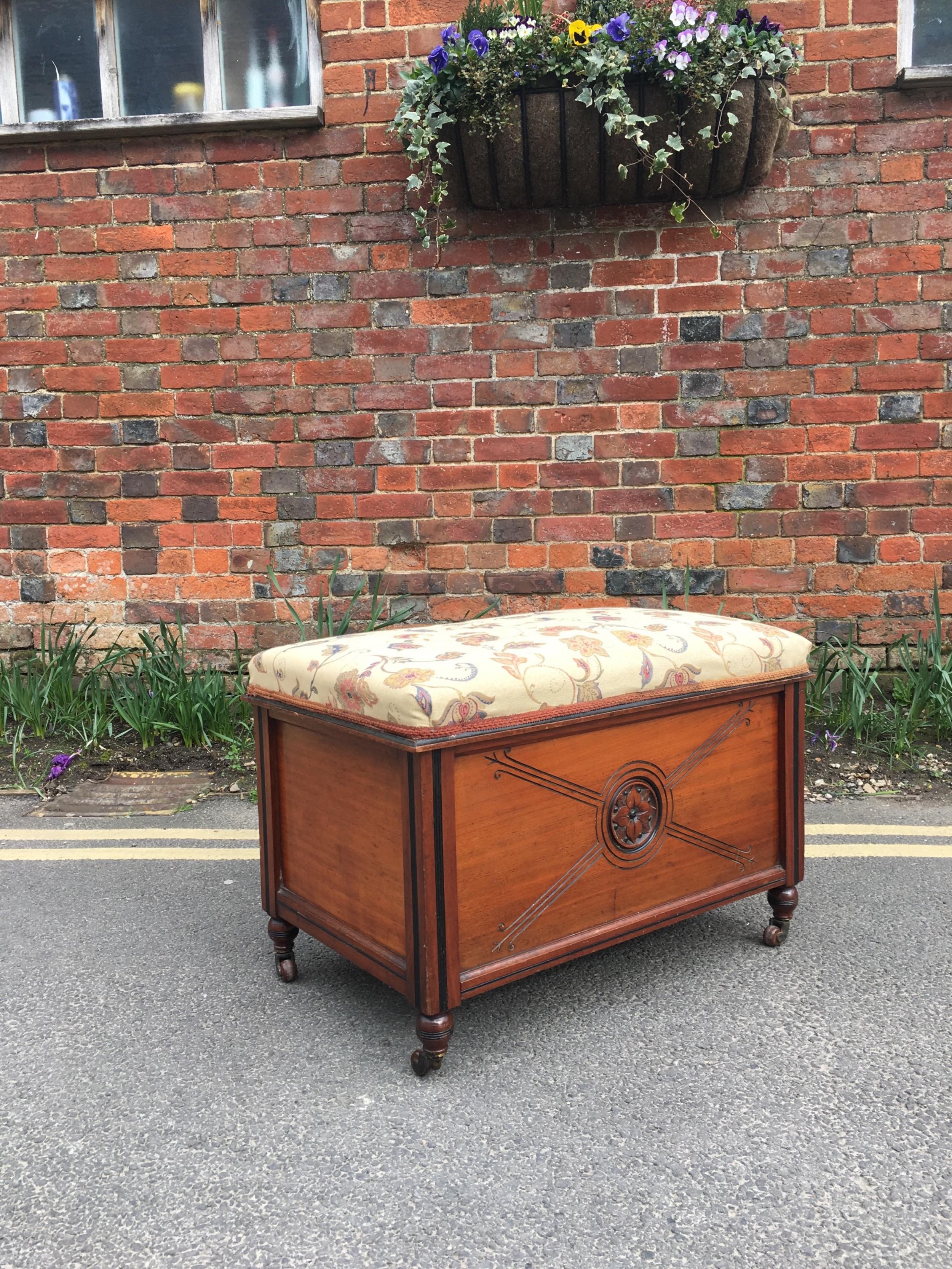 victorian walnut box seat stool