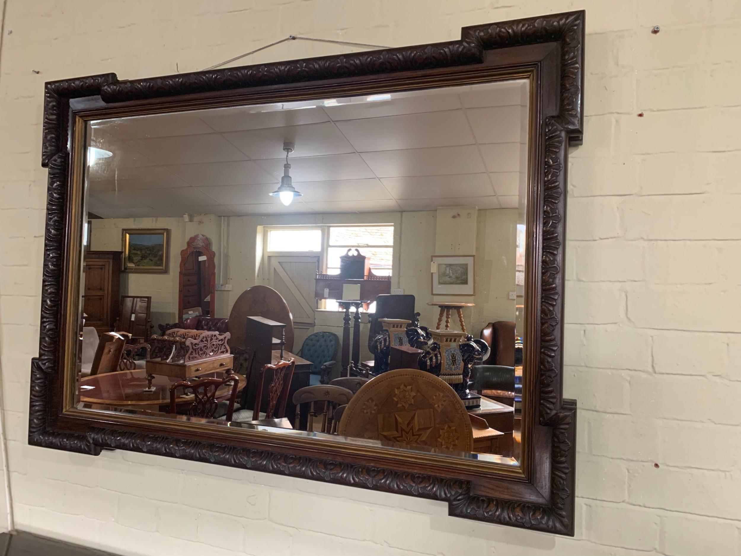 victorian carved walnut mirror