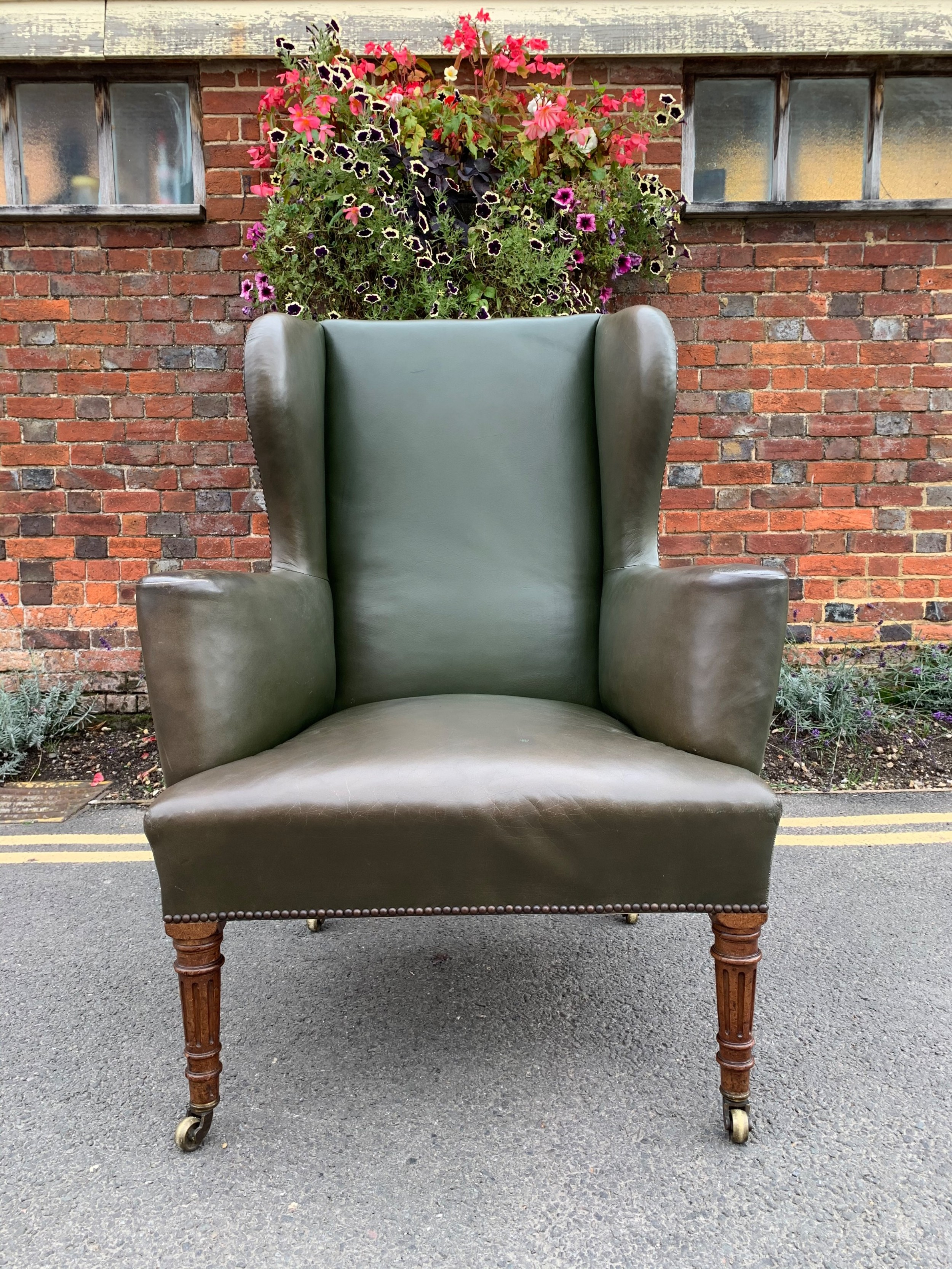 victorian leather wing chair