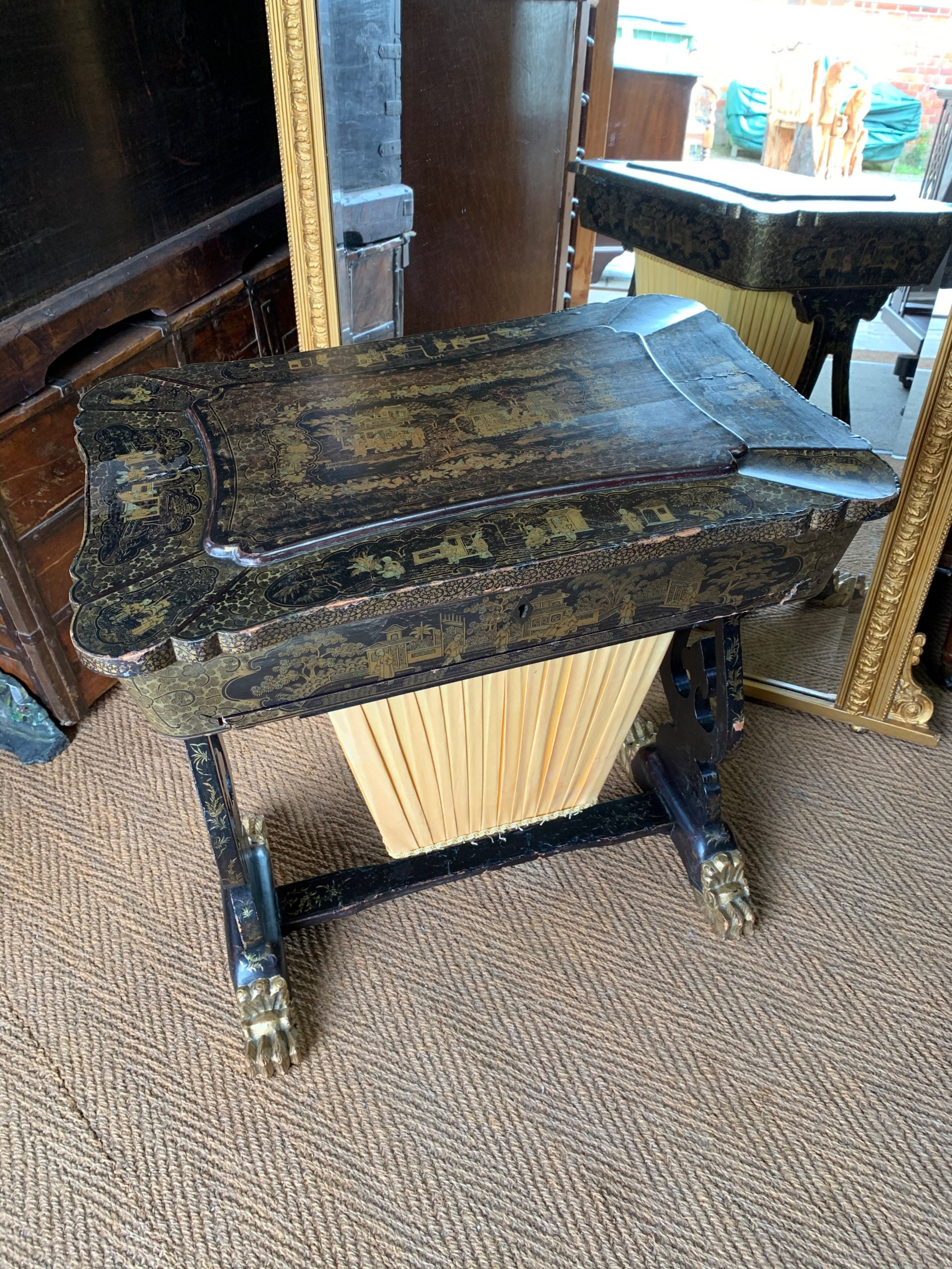 chinese export lacquer sewing table
