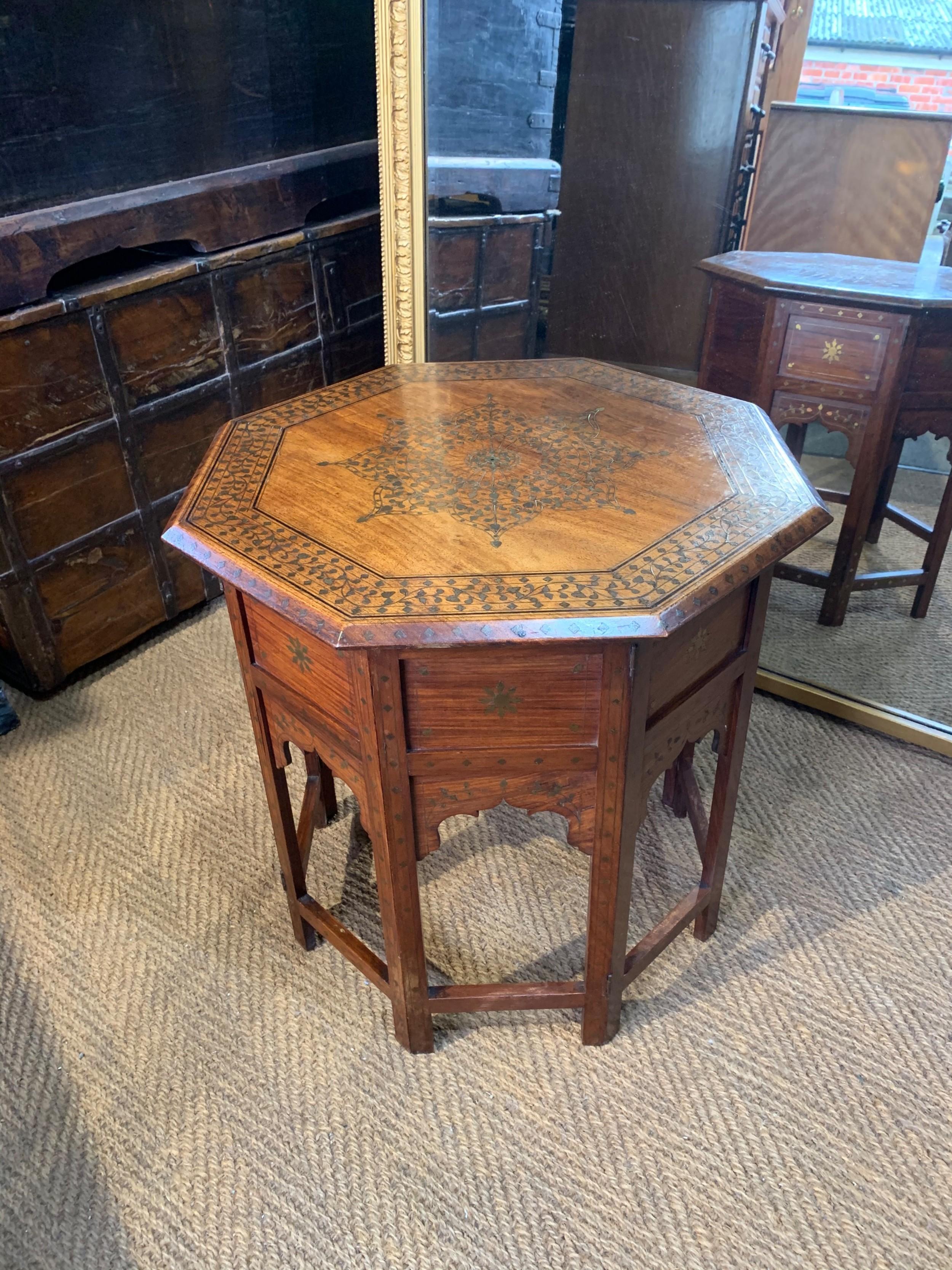 brass inlaid hoshiarpur table