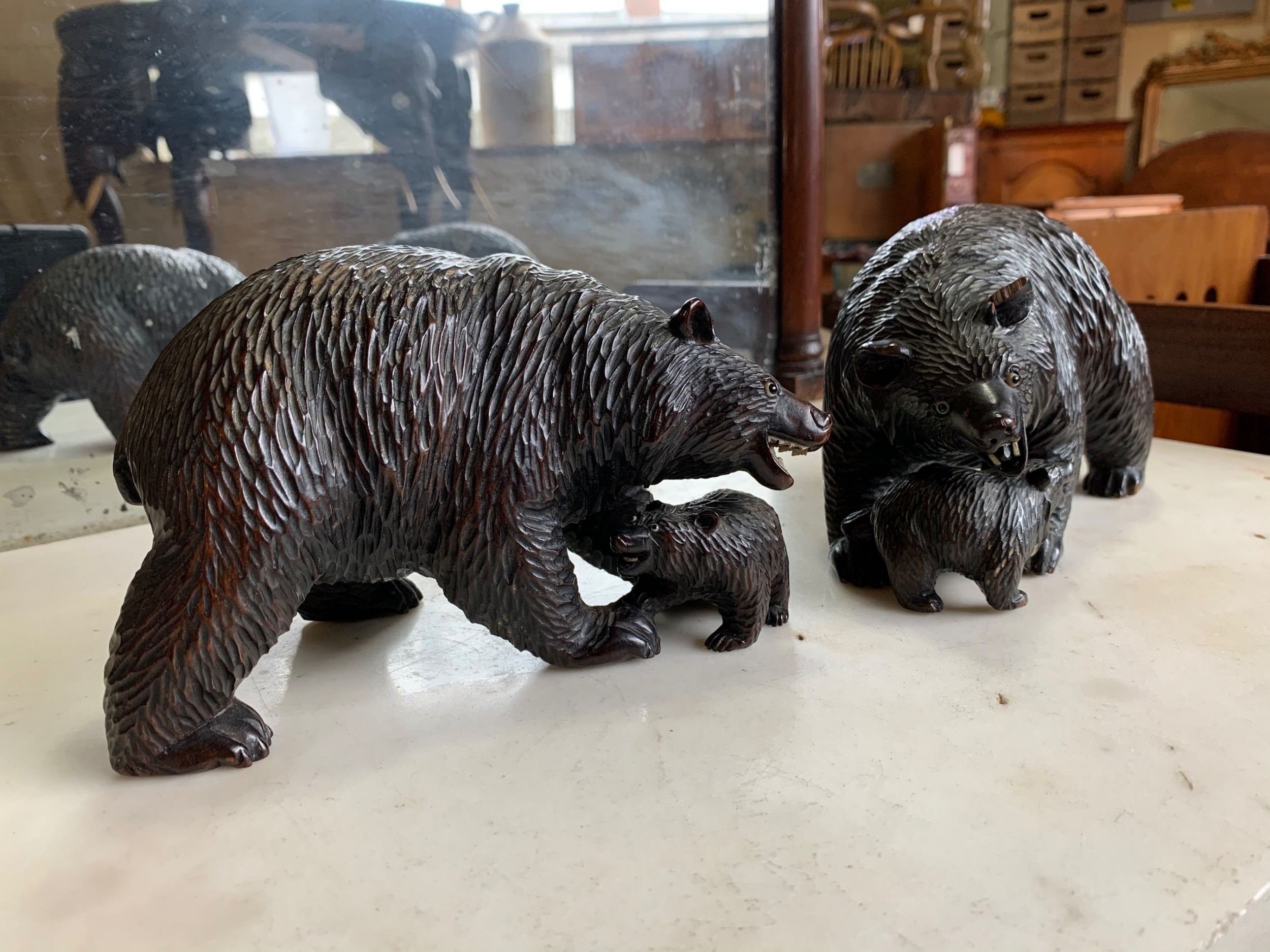 pair of black forest carved bears