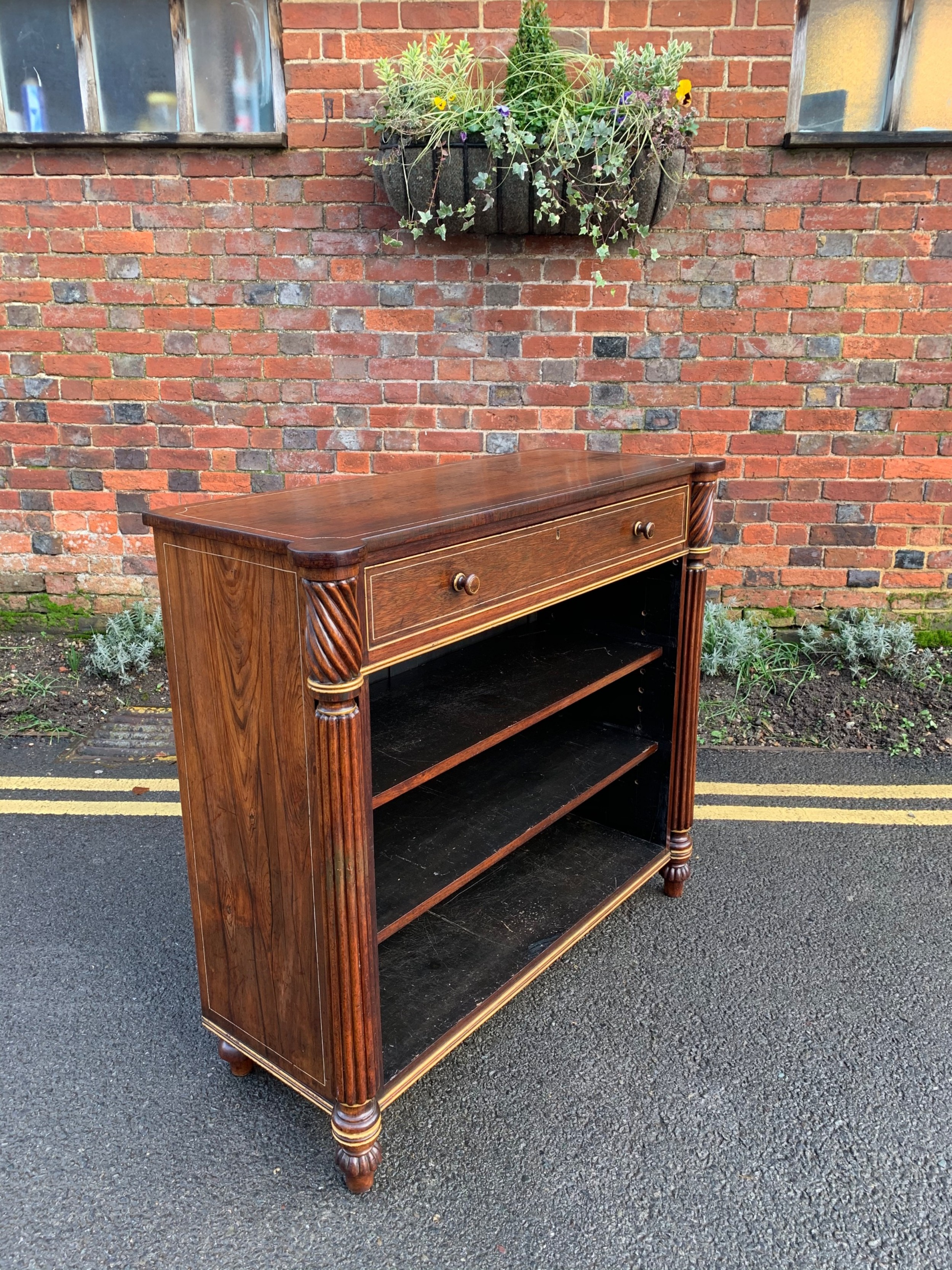 early nineteenth century rosewood open bookcase